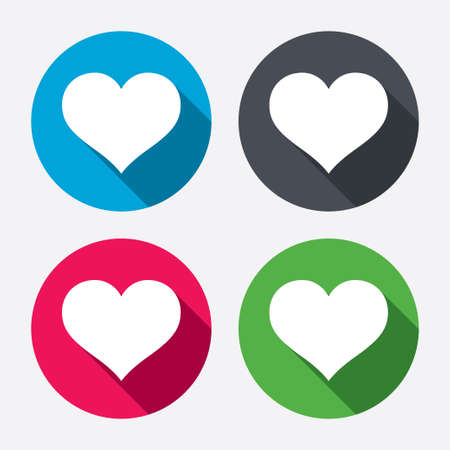 icon buttons: Love icon. Heart sign symbol. Circle buttons with long shadow. Vector Illustration