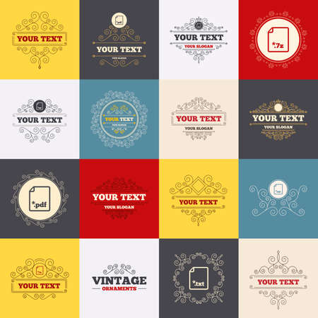 rar: Vintage frames, labels. Download document icons. File extensions symbols. PDF, RAR, 7z and TXT signs. Scroll elements. Vector