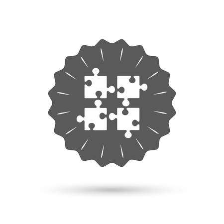 conundrum: Vintage emblem medal. Puzzles pieces sign icon. Strategy symbol. Ingenuity test game. Classic flat icon. Vector Illustration