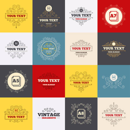 a7: Vintage frames, labels. Paper size standard icons. Document symbols. A5, A6, A7 and A8 page signs. Scroll elements. Vector Illustration