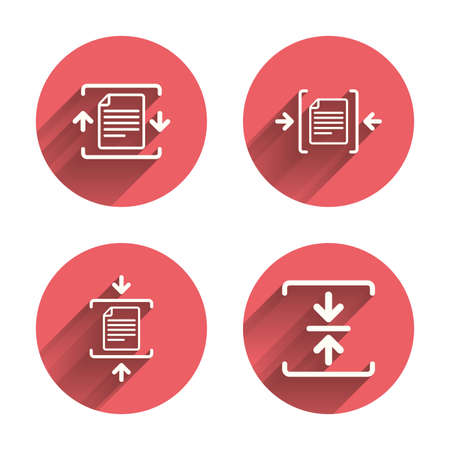 zipped: Archive file icons. Compressed zipped document signs. Data compression symbols. Pink circles flat buttons with shadow. Vector Illustration