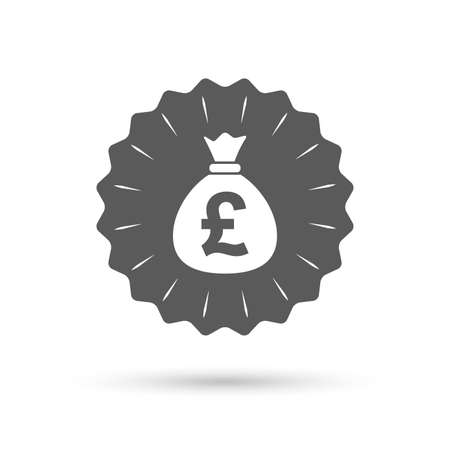 gbp: Vintage emblem medal. Money bag sign icon. Pound GBP currency symbol. Classic flat icon. Vector