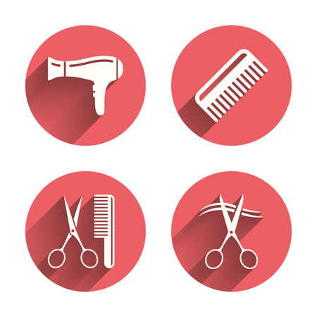 comb hair: Hairdresser icons. Scissors cut hair symbol. Comb hair with hairdryer sign. Pink circles flat buttons with shadow. Vector