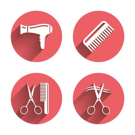 hairstyling: Iconos peluquer�a. Las tijeras cortaron s�mbolo cabello. Peine el pelo con el signo de secador de pelo. C�rculos rosados ??botones planos con sombra. Vector
