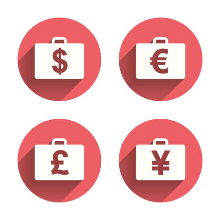 diplomat: Businessman case icons. Cash money diplomat signs. Dollar, euro and pound symbols. Pink circles flat buttons with shadow. Vector Illustration