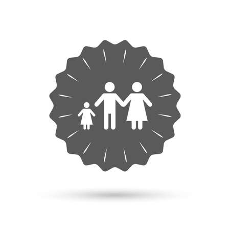 family with one child: Vintage emblem medal. Family with one child sign icon. Complete family symbol. Classic flat icon. Vector Illustration