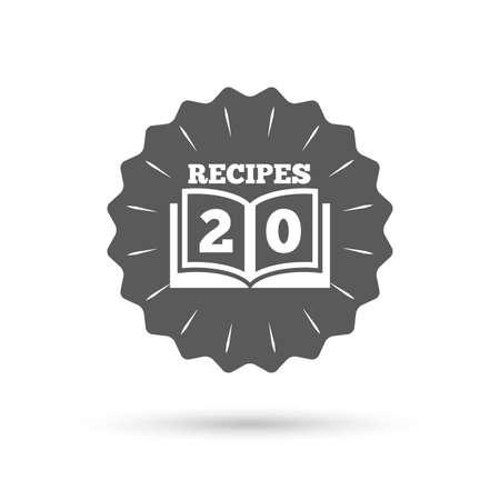 cookbook: Vintage emblem medal. Cookbook sign icon. 20 Recipes book symbol. Classic flat icon. Vector