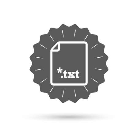 txt: Vintage emblem medal. Text file icon. Download txt doc button. Txt file extension symbol. Classic flat icon. Vector Vettoriali