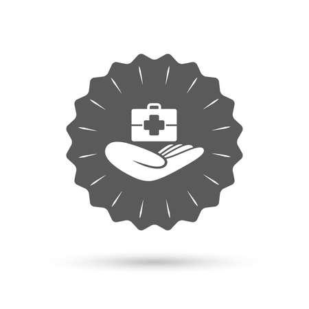 medical case: Vintage emblem medal. Medical insurance sign icon. Health insurance. Doctor case. Classic flat icon. Vector Illustration
