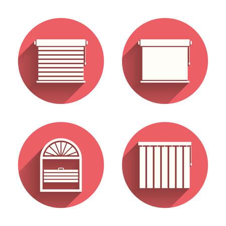 Louvers icons. Plisse, rolls, vertical and horizontal. Window blinds or jalousie symbols. Pink circles flat buttons with shadow. Vector Illustration