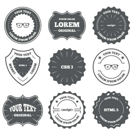 Vintage emblems, labels. Programmer coder glasses icon. HTML5 markup language and CSS3 cascading style sheets sign symbols. Design elements. Vector Illustration