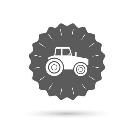 tractor sign: Vintage emblem medal. Tractor sign icon. Agricultural industry symbol. Classic flat icon. Vector Illustration