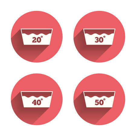washhouse: Wash icons. Machine washable at 20, 30, 40 and 50 degrees symbols. Laundry washhouse signs. Pink circles flat buttons with shadow. Vector