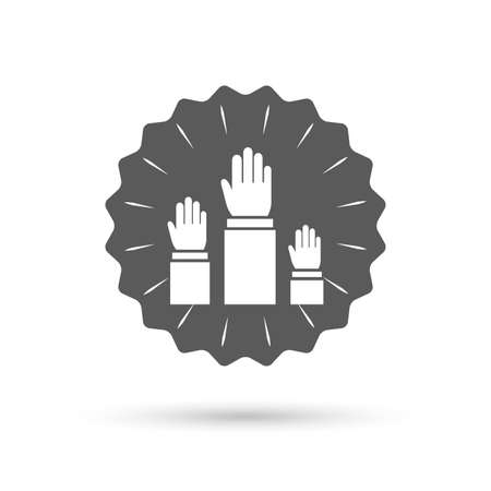 symbol people: Vintage emblem medal. Election or voting sign icon. Hands raised up symbol. People referendum. Classic flat icon. Vector