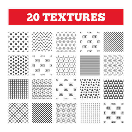 Seamless patterns. Endless textures. Language icons. FI, DK, SE and NO translation symbols. Finland, Denmark, Sweden and Norwegian languages. Geometric tiles, rhombus. Vector
