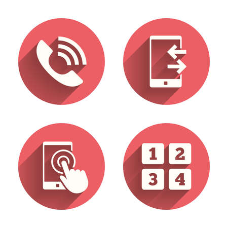 outcoming: Phone icons. Touch screen smartphone sign. Call center support symbol. Cellphone keyboard symbol. Incoming and outcoming calls. Pink circles flat buttons with shadow. Vector