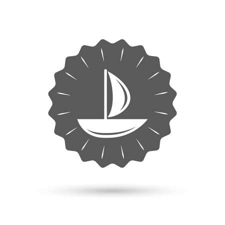 ship sign: Vintage emblem medal. Sail boat icon. Ship sign. Shipment delivery symbol. Classic flat icon. Vector