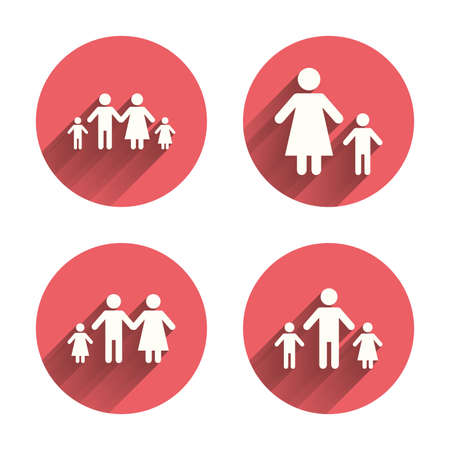 divorce: Family with two children icon. Parents and kids symbols. One-parent family signs. Mother and father divorce. Pink circles flat buttons with shadow. Vector Illustration
