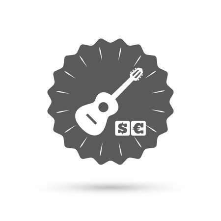 Vintage emblem medal. Acoustic guitar sign icon. Paid music symbol. Classic flat icon. Vector