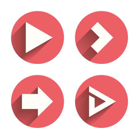 info button: Arrow icons. Next navigation arrowhead signs. Direction symbols. Pink circles flat buttons with shadow. Vector Illustration