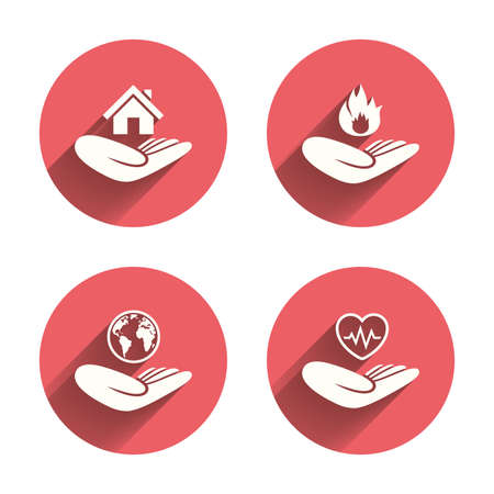 protection incendie: Helping hands icons. Health and travel trip insurance symbols. Home house or real estate sign. Fire protection. Pink circles flat buttons with shadow. Vector Illustration