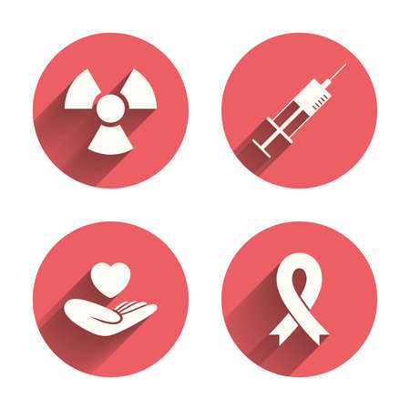 cancer: Medicine icons. Syringe, life insurance, radiation and ribbon signs. Breast cancer awareness symbol. Hand holds heart. Pink circles flat buttons with shadow. Vector Illustration