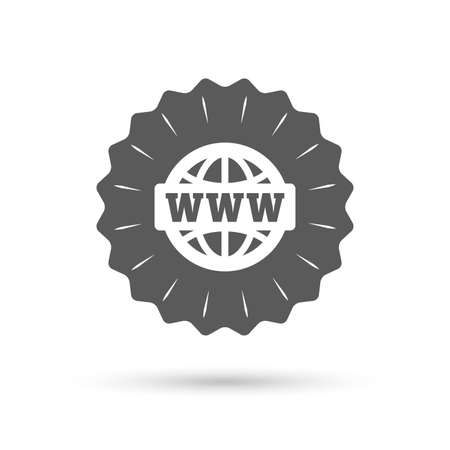 www at sign: Vintage emblem medal. WWW sign icon. World wide web symbol. Globe. Classic flat icon. Vector