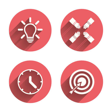 pink lamp: Lamp idea and clock time icons. Target aim sign. Darts board with arrow. Teamwork symbol. Pink circles flat buttons with shadow. Vector Illustration