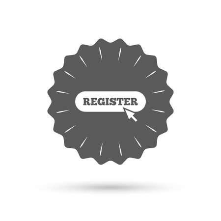 pointer emblem: Vintage emblem medal. Register with cursor pointer sign icon. Membership symbol. Website navigation. Classic flat icon. Vector
