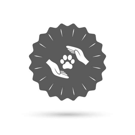 retro badge: Vintage emblem medal. Protection of animals sign icon. Hands protect paw symbol. Shelter for dogs. Animals insurance. Classic flat icon. Vector