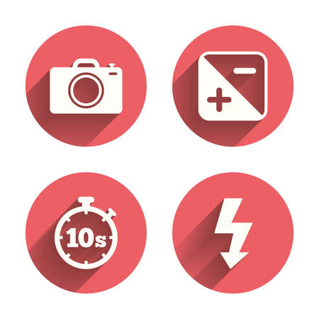 hosszú expozíció: Photo camera icon. Flash light and exposure symbols. Stopwatch timer 10 seconds sign. Pink circles flat buttons with shadow. Vector