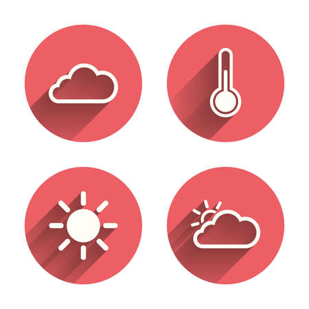 chills: Weather icons. Cloud and sun signs. Thermometer temperature symbol. Pink circles flat buttons with shadow. Vector