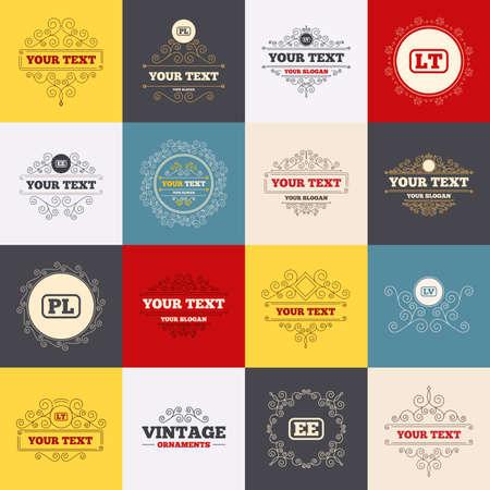 Vintage frames, labels. Language icons. PL, LV, LT and EE translation symbols. Poland, Latvia, Lithuania and Estonia languages. Scroll elements. Vector