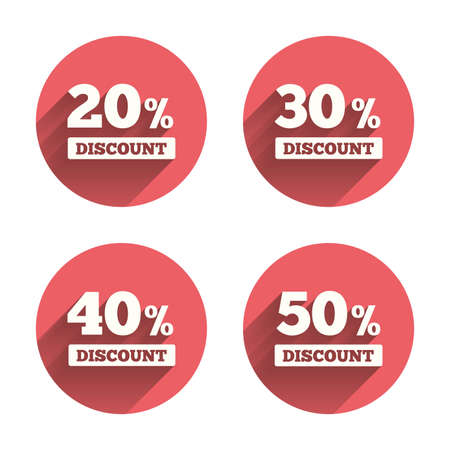 30 to 40: Sale discount icons. Special offer price signs. 20, 30, 40 and 50 percent off reduction symbols. Pink circles flat buttons with shadow. Vector