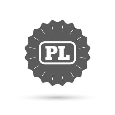 pl: Vintage emblem medal. Polish language sign icon. PL translation symbol with frame. Classic flat icon. Vector