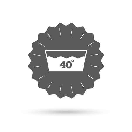 washbowl: Vintage emblem medal. Wash icon. Machine washable at 40 degrees symbol. Classic flat icon. Vector