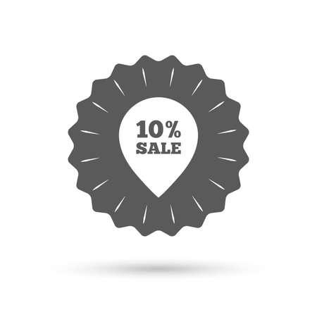 pointer emblem: Vintage emblem medal. 10% sale pointer tag sign icon. Discount symbol. Special offer label. Classic flat icon. Vector