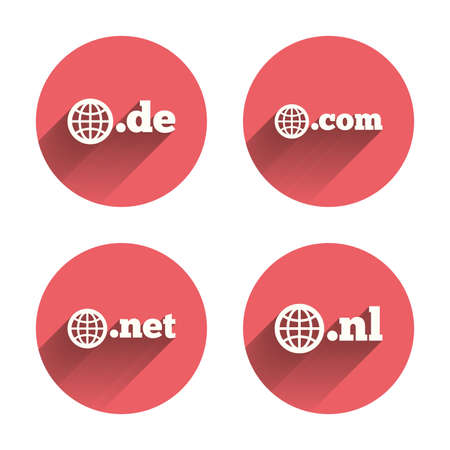 dns: Top-level internet domain icons. De, Com, Net and Nl symbols with globe. Unique national DNS names. Pink circles flat buttons with shadow. Vector
