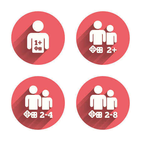 four friends: Gamer icons. Board games players sign symbols. Pink circles flat buttons with shadow. Vector