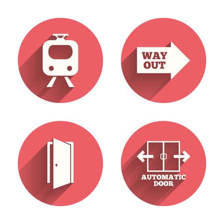 puerta abierta: Icono de tren de tren. Símbolo de puerta automática. Salida Señal de flecha. Círculos rosados ??botones planos con sombra. Vector Vectores