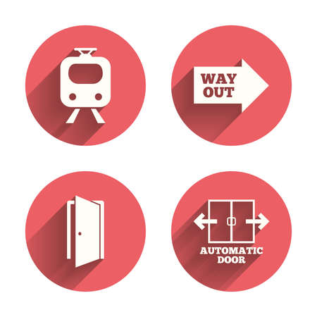 open road: Train railway icon. Automatic door symbol. Way out arrow sign. Pink circles flat buttons with shadow. Vector