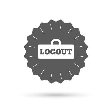 sign out: Vintage emblem medal. Logout sign icon. Sign out symbol. Lock icon. Classic flat icon. Vector