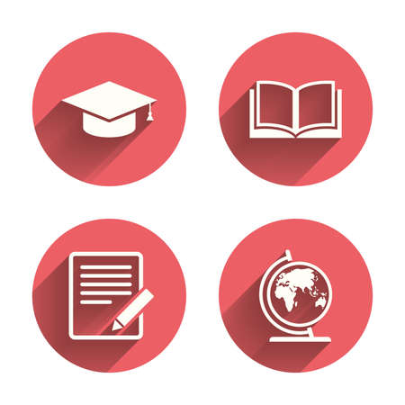 pink cap: Pencil with document and open book icons. Graduation cap and geography globe symbols. Learn signs. Pink circles flat buttons with shadow. Vector Illustration