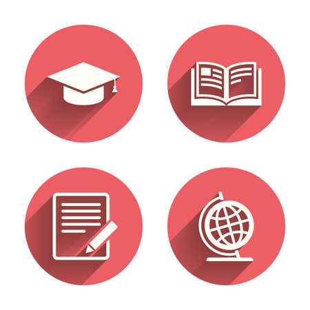 Pencil with document and open book icons. Graduation cap and geography globe symbols. Learn signs. Pink circles flat buttons with shadow. Vector Illustration