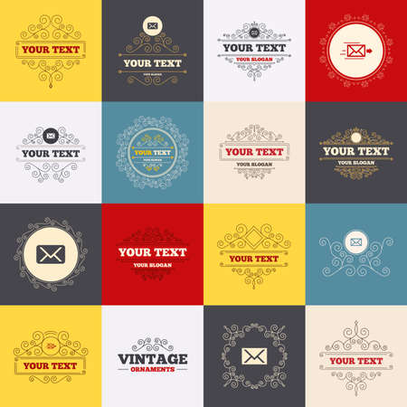 Vintage frames, labels. Mail envelope icons. Message delivery symbol. Post office letter signs. Scroll elements. Vector