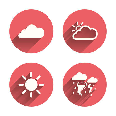 gale: Weather icons. Cloud and sun signs. Storm or thunderstorm with lightning symbol. Gale hurricane. Pink circles flat buttons with shadow. Vector