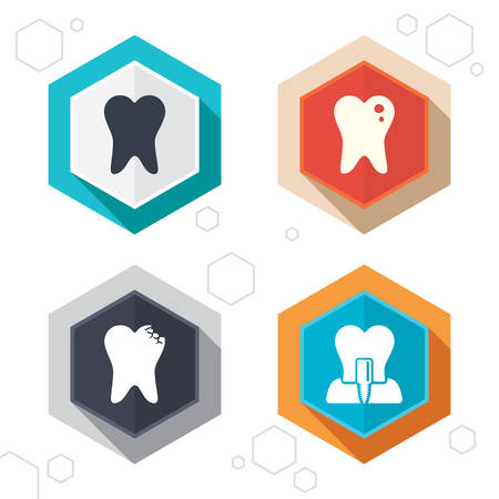 dental surgery: Hexagon buttons. Dental care icons. Caries tooth sign. Tooth endosseous implant symbol. Labels with shadow. Vector