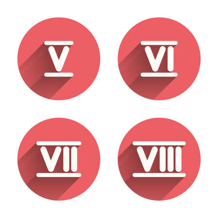 Roman numeral icons. 5, 6, 7 and 8 digit characters. Ancient Rome numeric system. Pink circles flat buttons with shadow. Vector