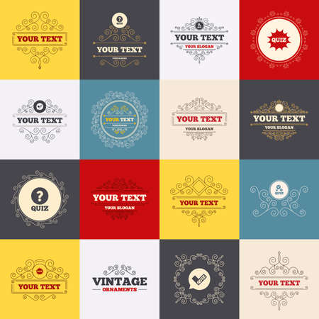 kwis: Vintage frames, labels. Quiz icons. Speech bubble with check mark symbol. Explosion boom sign. Scroll elements. Vector