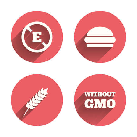 stabilizers: Food additive icon. Hamburger fast food sign. Gluten free and No GMO symbols. Without E acid stabilizers. Pink circles flat buttons with shadow. Vector